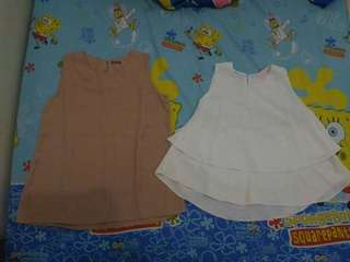 2 only for 50k! White & Brown Sleeveless Top