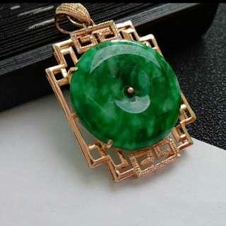 🎍18K GOLD - Grade A Spicy Green Coin/平安扣Jadeite Jade Pendant🎍