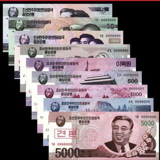 2002-2008年 亞洲 北韓朝鮮 5-5000元 9張 樣鈔 全新直版
