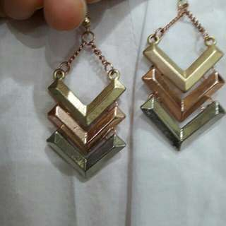 Anting 3 warna (silver+gold+rosegold)