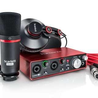 FOCUSRITE SCARLETT 2I2 STUDIO (2ND GEN) - USB AUDIO INTERFACE, MIC, HEADPHONES, CABLES AND SOFTWARE
