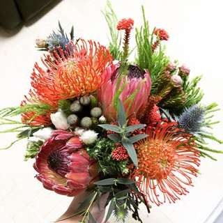 Rustic Bridal Bouquet / Red Protea Orange Pincushion with Rustic Vibes / Rustic Wedding Package