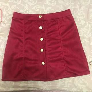 Mini skirt suede Red