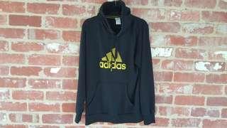 Adidas Black Hoodie - L Gold/Yellow Logo