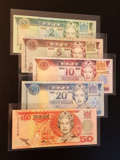 FIJI $2, $5, $10, $20 & $50 banknote 2002 UNC