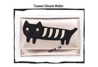 LAST ONE Happy Price 日本 Tsumori Chisato TC 淡金色 貓貓三摺銀包 PU 3 Folded wallet franche lippee