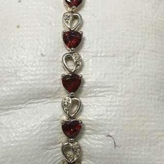 """Vintage tennis Natural heart shape garnet sterling silver sz 7.5"""" 13.4 grams bracelet"""