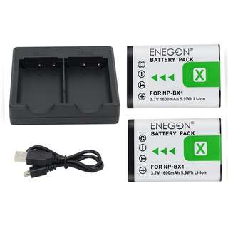 ENEGON Replacement Battery (2-Pack) and Rapid Dual Charger for Sony NP-BX1, NP-BX1/M8 and Sony Cyber-shot DSC-RX100, DSC-RX100 II, DSC-RX100M II, DSC-RX100 III, DSC-RX100 V, DSC-RX100 IV, HDR-CX405  -- 643
