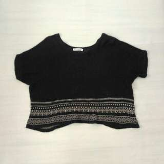 Black Knitted Oversized See Through Top