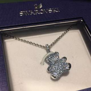 Swarovski Crystaldust Blue Bear Pendant Necklace
