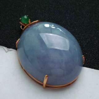 🍍18K GOLD - Grade A 冰糯 Lavender Cabochon Jadeite Jade Pendant🍍