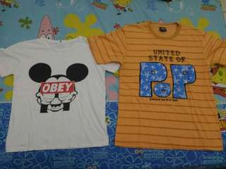 2 only for 35k! White Obey & Orange Shirt