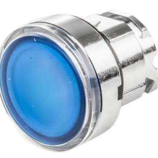 Schneider Blue illuminated head for integral LED (ZB4bw363) & Schneider Electric Harmony XB4 Contact & Light Block 1NO 1NC LED Blue 24 V ac/dc Screw terminal (ZB4BW0B65)