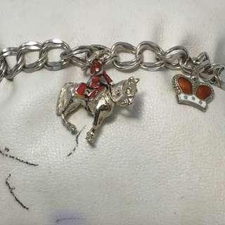 """Vintage British toggle bracelet all stamped ster silver 7.5"""" Lenght 26 grams"""