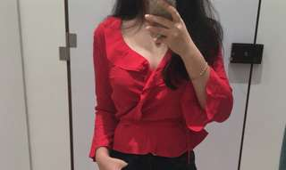 LOOKING FOR red wrap blouse