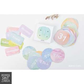 Mo Card Pastel Day & Date Stickers - 1box/45pcs