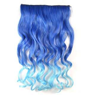 Clearance Sales Ombre Curl Blue to light Blue Hair Extensions