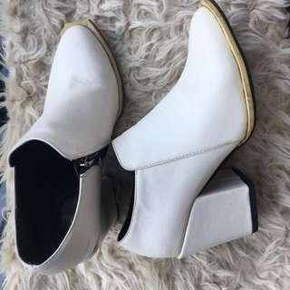 White booties heels