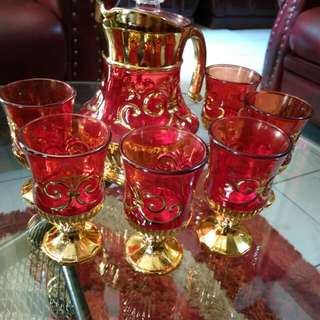 Teko gelas merah 6 pc gold