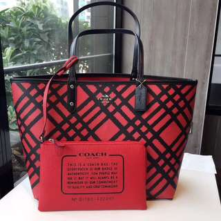 Coach Reversible City Tote with Wild Plaid Print