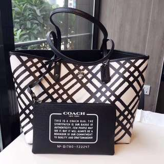Coach Reversible City Tote with Wild Plaid Print - black & white