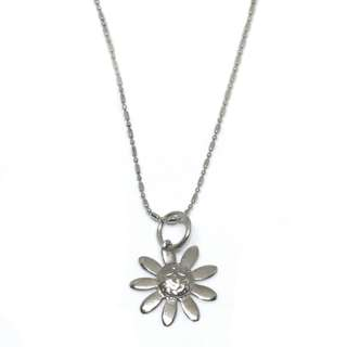 Just Jewels Necklace with Daisy Pendant White Gold