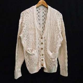 C8 Soft Cream Rajut Knit Tebal Vintage Cardigan Bolero Outer Outwear Luaran