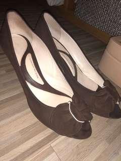 Brown open toe heels