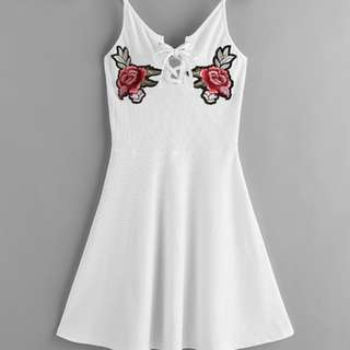 Laced up ribbed swing dress