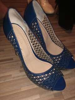 Blue cut out heels