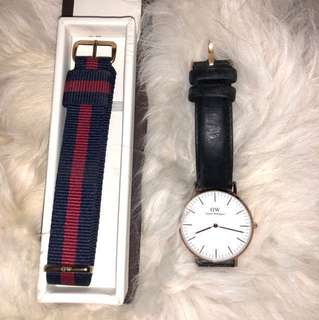 Daniel Wellington classic Sheffield watch with leather strap and nylon strap