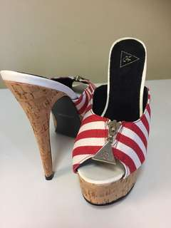 New Red and White Striped Cork Platform Heels Size 10