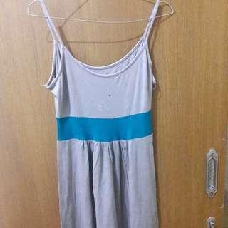 Preloved Mini Dress Abu2 Fit to L bs melar Material Kaos Katun