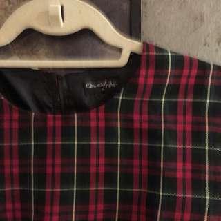 Miss Selfridge Red Tartan Cropped Shirt
