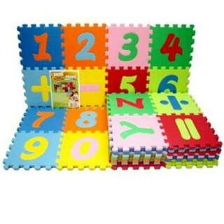 Mainan anak matras alphabet puzzle angka simbol evamat
