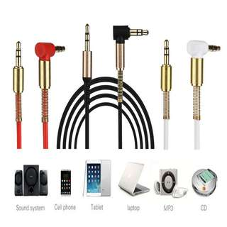 3.5mm Jack Stereo Audio Cable 90 Degree Aux Cable (1m) (Black, Red and White)