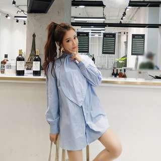 春季韓版時尚造型領結寬鬆顯瘦中長版上衣 長袖襯衫 襯衫裙