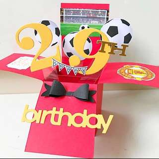 Happy 29th Birthday Handmade man United Pop Up Card