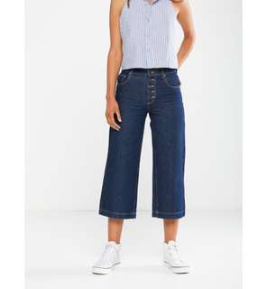 mid rise wide crop rinse jeans