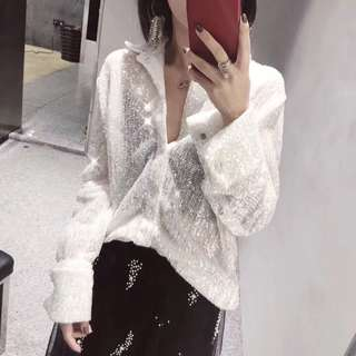 Long sleeve sequined loose blouse top