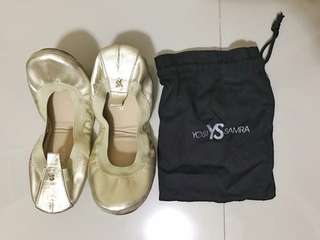 Yosi Samra Gold Ballet Flats (with bag & box) Rarely Used