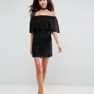 Black lace off shoulderDress