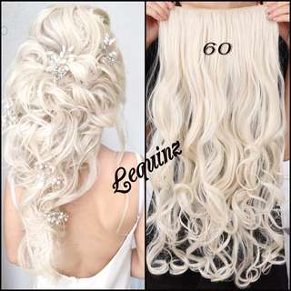 5clip hair extensions Wavy Curly Platinum Blonde 2 FOR $30