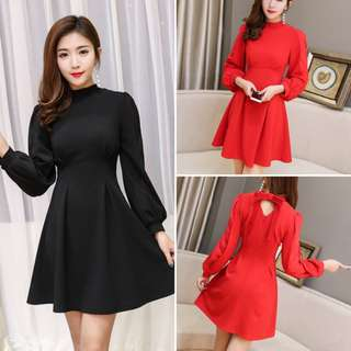 Hot Sale Bow Decorated Solid Color Mini Dresses