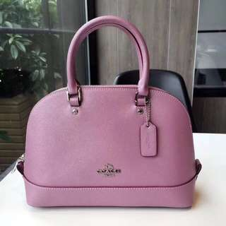 Coach Mini Sierra Satchel in Glitter Crossgrain leather - pink