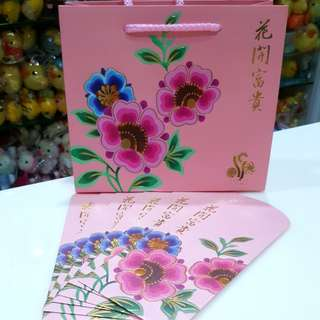One Set Exclusive 花开富贵 Suntec City Red Packets + Carrier Bag Set