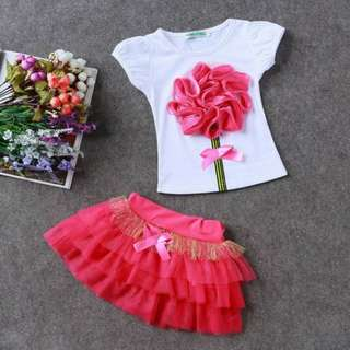 kids' shirt and tutu skirt set
