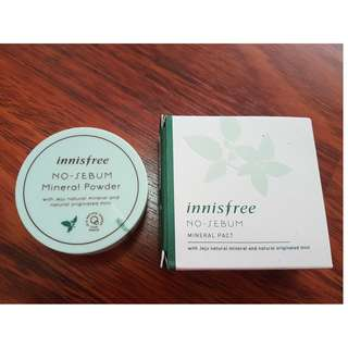 Innisfree no-sebum mineral powder and mineral pact