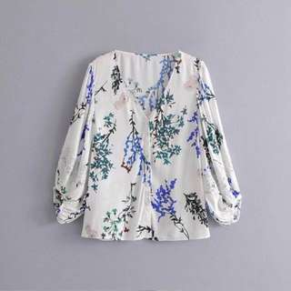 🔥Europe Flower Printing Bud Silk Bubble Sleeve Collar Blouse