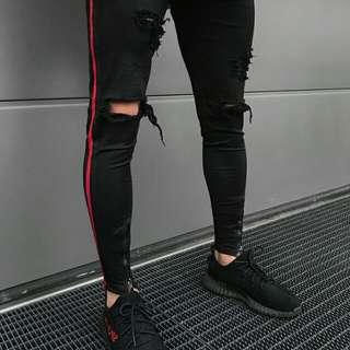 PO: Side Striped Black Jeans